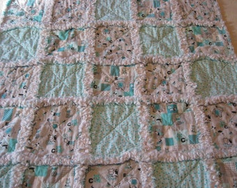 ABC Nursery Print Baby Boy Rag Quilt Blanket 35x35