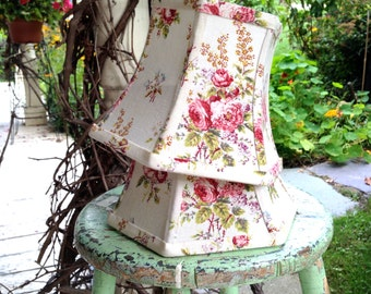 French Cottage Lamp Shade, Lampshade Vintage Floral Fabric, Small Lampshade 5x8x6 hex bell, shabby chic and oh so pretty! Farmhouse Perfect!