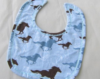 HORSES Light Blue Color Cotton Fabric Oversize Baby Bib w/Hook & Loop Closure