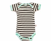 NEW! Black and White Stripe with Seaglass Trim Bamboo Newborn Onesie