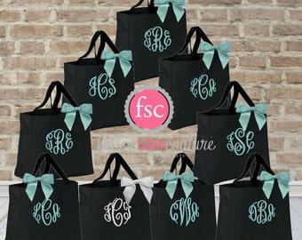 9 bridesmaid tote bags , bridesmaid gifts , tote bag , beach bag , bachelorette party gift ,wedding bag , maid of honor , flowergirl
