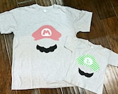 SALE Mario and Luigi Matching Father and Son Shirts - New Baby, Dad and Son Set, Father's Day Sidekick Birthday Nintendo Tshirt Onesie Tee