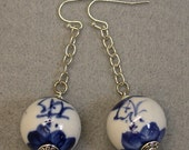 Vintage White Porcelain Lapis Blue Chinese Calligraphy Bead Earrings, Silver Chain,Silver Ear Wires