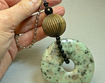 Vintage Jasper Fan Pull Carved Donut Blue Green Pendant, Vintage Brass Bead,Vintage Black Crystal Beads