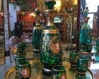 Beautiful Green Glass Decanter Set with Gold Accents and Cameo