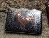 Rooster Etched Wallet / Cigarette Case in Tribal Patterned Metal -- Acid Bath Series