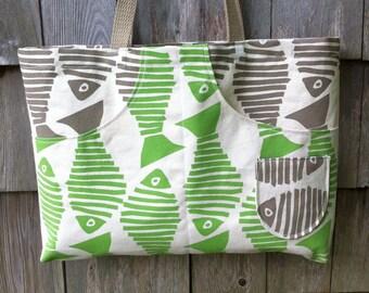 Fish Print Green Brown Long Strap Large Pockets Canvas Bag Inside Pocket READY to SHIP