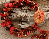 RUBY RED - Handmade Ceramic Button, Semi-Precious Red Bamboo, Goldstone, and Glass Seed Bead Bracelet