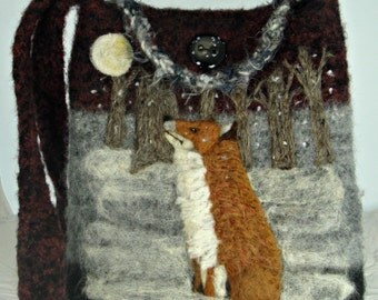 Felted Purse, Felted Handbag, Felted Tote, Fox Art, Needle Felt Fox, Red Fox
