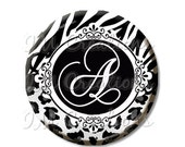 """50% OFF - Pocket Mirror, Magnet or Pinback Button - Party Favors 2.25"""" -  Personalized Initial Black White Animal Print MR344"""