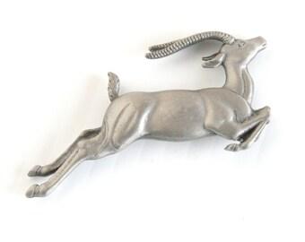 Gazelle Pewter Brooch Vintage Leaping Gazelle Figural African Animal Pin