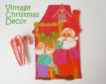 Vintage 1970 Christmas Decoration Santa Claus Toy Factory Workshop Elf Paper Die Cut