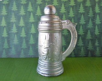 1970's Silver Glass Figural Oktoberfest German Beer Stein Avon Perfume Bottle Decanter Empty Tribute After Shave