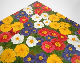 Vintage 1980's All Occasions Wrapping Paper | Floral Red Yellow Purple Pansy Flowers Gift Wrap Paper