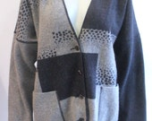 Vintage Black and Grey Patterned Button Up Sweater