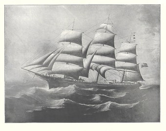 Print of the Sailing Ship Carrie Reed, built in 1870
