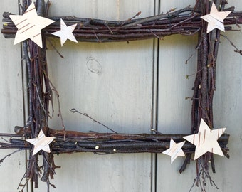 Square twig wreath with birch bark stars.  For your rustic country home. A primitive woodland design.  For the 4th of July.