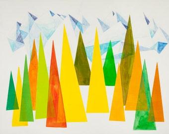 First Snow, art print, abstract art print, abstract landscape, mountains, trees, Scandinavian, nordic design, geometric, nordic design, art