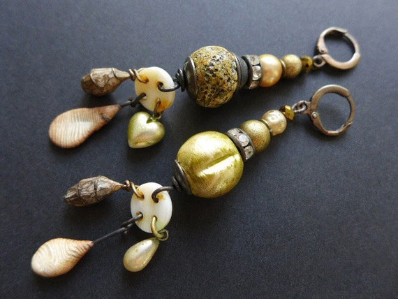 Golden Twilight. Long rustic assemblage earrings