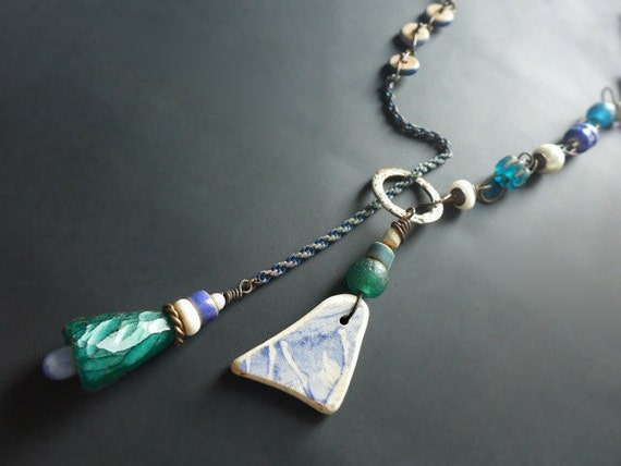 Euphonia. Rustic assemblage lariat in blue, green, and white.