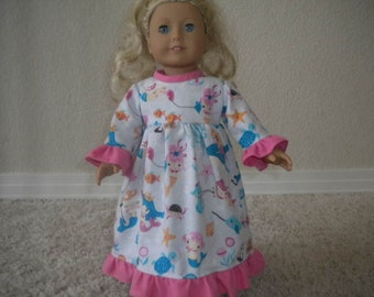 Under The Sea Flannel Nightgown for American Girl Doll or Most 18 inch Dolls
