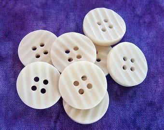 Matte White Vintage Buttons 18mm - 5/8 inch Warm White Plastic Sewing Buttons - 8 VTG NOS Grooved Stripe Waffled Retro Mod Buttons PL027