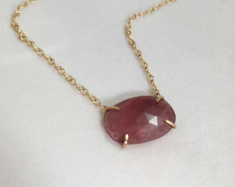 Natural Rose Cut Pink Sapphire Necklace 14k Gold