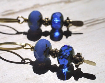 Rustic Brass and Blue Czech Glass Bead Dangle Earrings  - Boho Chic - Gypsy Chic - Bohemian Jewelry