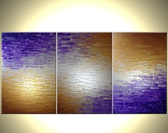 Original Abstract Painting In Silver Metallics, Palette Knife Abstract Purple Modern Textured Art by Lafferty - 36 x 72 - 22% Off Sale