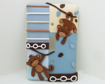 Monkey Light Switch or Outlet Cover -  Monkey Nursery - Jungle Childrens Room Decor - Monkey Themed Decor - Toggle or Rocker Cover