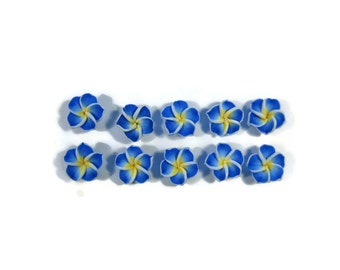 12 mm Polymer Clay Plumeria Flowers Set of 10 (MP10)