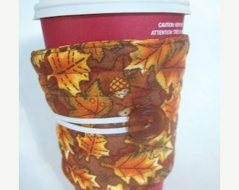 Winter Clearance Coffee cozy Autumn / Coffee Cup Sleeve, Handmade quilted reusable fabric coffee cup sleeve: cozy of the week one half off