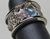 Custom Thistle band with rainbow moonstone in 14KPA Reserved for Kenneth Moss