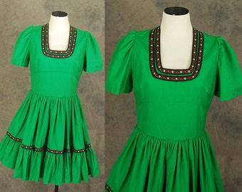 Clearance Sale vintage 60s Dirndl Dress - 1960s Folk Green Square Dance Dress Sz M