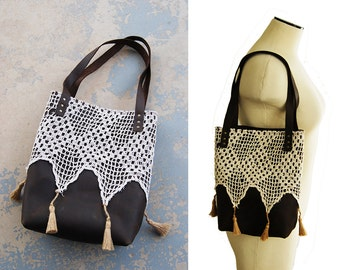 Leather Tote Bag - Rustic Leather and Lace Tassel Purse