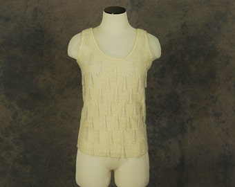 CLEARANCE vintage 60s Beaded Sweater - 1960s Ivory Angora Wool Sleeveless Sweater Tank Top SZ S M