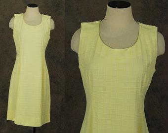 vintage 60s Dress - 1960s Mod Yellow Shift Dress Mini Dress Sz M