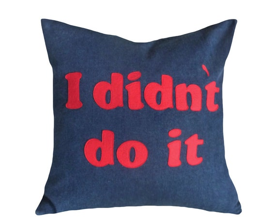 Funny Pillows with Sayings, Man Cave Pillow,  I Didn't Do It Word Pillow, Back to School Dorm Decor, Gift Idea for HIM, 20x20