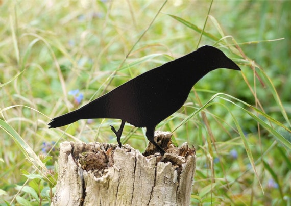 Garden Crow Yard Art, Raven Bird Lawn Ornament