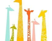 "40% OFF EVENT 8X10"" Modern giraffe silhouettes giclee print on fine art paper. Rainbow."