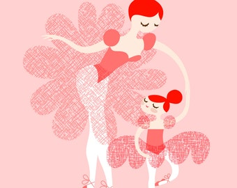 "8X10"" ballerina mother and daughter giclee print on fine art paper. light pink, vivid redhead hair."