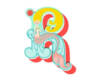 """8X10"""" mermaid letter R giclee print on fine art paper. teal and aqua blue, coral pink, blonde."""