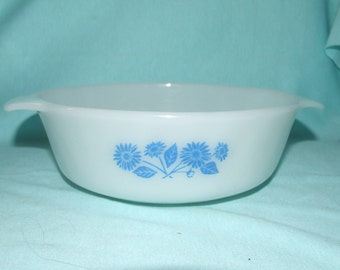 Fire King Baking Dish Round Casserole Blue Daisies