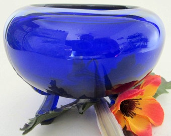 Cobalt Blue Glass Rolled Rose Bowl Rare Vintage Candy 3 Footed Applied Feet