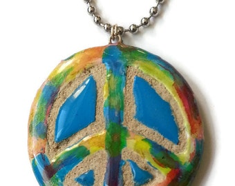 Rainbow Peace Sign - Tie Dye Hippie Jewelry - Ceramic Clay Pendant - INTERCHANGEABLE