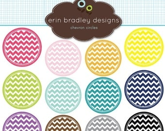 50% OFF SALE Chevron Circles Clipart Clip Art Personal & Commercial Use