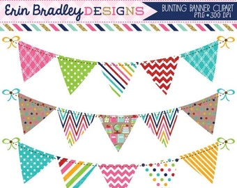 60% OFF SALE School Bunting Clipart Graphics Personal & Commercial Use Banner Flag Clip Art Set