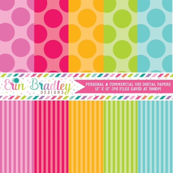 Digital Scrapbook Paper Personal and Commercial Use Colorful Polka Dots and Stripes