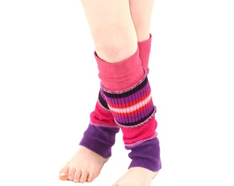 Leg Warmers for Kids in Spring Flower Stripes - Coral Pink and Purple - Recycled Sweaters - Eco Friendly