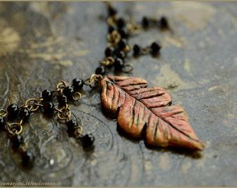 Oak leaf in the black rain necklace -  woodland fairy nature OOAK Handmade jewelry sculpt